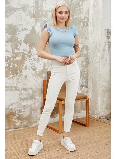 Reyon REYON Kadın Kolye Aksesuarlı Sıfır Kol Bluz Mavi Mavi